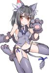 1girl 3: animal_ears bare_shoulders bell black_hair black_panties blush breasts brown_eyes cat_ears cat_tail fate/kaleid_liner_prisma_illya fate_(series) fur_trim garter_straps gloves grey_legwear hair_between_eyes hair_ornament hairclip hashiko_no_woto highres jingle_bell midriff miyu_edelfelt navel panties paw_gloves paws ribbon sideboob simple_background sitting sketch small_breasts solo tail tail_ribbon thigh-highs twintails underwear vest wariza white_background