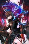 1boy arsene_(persona_5) black_hair black_pants chains gloves grey_shirt hair_between_eyes highres joker_(persona_2) kurusu_akira looking_at_viewer pants parted_lips persona persona_5 red_eyes red_gloves sanakichi shirt smile solo spiky_hair
