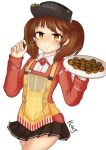 1girl absurdres apron artist_name bare_legs brown_eyes brown_hair eyebrows food highres holding holding_food holding_plate jacy japanese_clothes kantai_collection kariginu long_sleeves magatama plate pleated_skirt ryuujou_(kantai_collection) skirt smile solo takoyaki toothpick twintails visor_cap