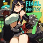1girl alex_ahad anniversary black_hair blush breasts closed_mouth final_fantasy final_fantasy_vii gloves highres holding large_breasts long_hair looking_at_viewer midriff navel red_eyes smile solo tifa_lockhart