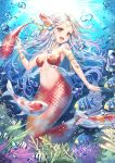 1girl armlet blush breasts cleavage eyebrows_visible_through_hair fish hair_ornament jewelry large_breasts long_hair looking_at_viewer mermaid monster_girl navel necklace open_mouth original red_eyes roang silver_hair smile underwater