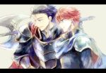 2boys armor blue_eyes blue_hair cape eliwood_(fire_emblem) fire_emblem fire_emblem:_rekka_no_ken hector_(fire_emblem) kuzumosu multiple_boys redhead short_hair