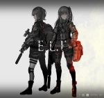 2girls armband backpack bag belt boots closed_mouth commentary dot_nose english fire flame grey_background greyscale gun hand_on_hip highres holding holding_gun holding_weapon inabi knee_pads leg_belt long_hair long_sleeves looking_to_the_side medium_hair military monochrome multiple_girls one_side_up original ponytail red_eyes rifle scope shorts shoulder_bag sniper_rifle sparks spot_color standing suppressor weapon weapon_request