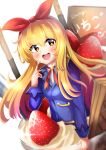 1girl absurdres aikatsu! blonde_hair blush brown_eyes dated eyebrows_visible_through_hair food fruit highres holmemee hoshimiya_ichigo long_hair looking_at_viewer open_mouth red_ribbon ribbon signature smile solo strawberry teeth