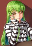 1girl absurdres bangs c.c. chin_rest code_geass green_hair highres lips long_hair long_sleeves looking_at_viewer nail_polish pink_nails self_shot shirt sleeves_past_wrists smile striped striped_shirt xiao_gen yellow_eyes
