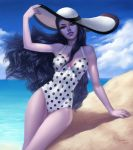 1girl anolea artist_name black_hair clouds dated day hat highres lips long_hair looking_at_viewer ocean one-piece_swimsuit outdoors overwatch polka_dot polka_dot_swimsuit purple_lips purple_skin sky solo sun_hat swimsuit thick_lips wavy_hair widowmaker_(overwatch) yellow_eyes
