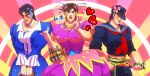 3boys awa_suna basket battle_tendency beer_can black_hair blue_hair bottle breast_padding breasts brown_hair can crossdressing crushed_can dress hair_ornament hat heart jojo_no_kimyou_na_bouken jonathan_joestar joseph_joestar_(young) kuujou_joutarou large_breasts male_focus manly midriff multiple_boys phantom_blood pose school_uniform serafuku stardust_crusaders torn_clothes torn_hat
