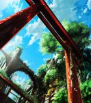 arch blue_sky bridge city clouds cloudy_sky day grass highres moss no_humans nurie_(siniariot) original outdoors rope ruins scenery sky torii tower tree