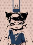 +_+ 1girl :p aori_(splatoon) artist_name blouse casual closed_mouth highres jewelry long_hair looking_at_viewer mole mole_under_eye monochrome necklace pointy_ears polka_dot polka_dot_background seto_(asils) short_sleeves solo splatoon standing tentacle_hair tongue tongue_out upper_body