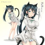 alternate_costume animal_ears baretto_(firearms_1) black_hair blue_eyes blush breasts cat_ears cat_tail commentary_request cosplay fake_animal_ears fake_tail francesca_lucchini hair_between_eyes hair_ribbon isuzu_(kantai_collection) kantai_collection large_breasts long_hair looking_at_viewer ribbon speech_bubble strike_witches tail translation_request twintails twitter_username world_witches_series