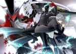 2boys black_hair black_jacket black_pants black_shirt black_shoes character_request gloves grey_eyes hair_between_eyes highres holding holding_sheath holding_sword holding_weapon izanagi jacket kurusu_akira mask multiple_boys narukami_yuu open_clothes open_jacket pants parted_lips persona persona_4 persona_5 red_gloves sheath shirt shoes silver_hair sword unsheathing weapon white_shirt