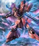 axis_(gundam) battle char's_counterattack clenched_hand glowing glowing_eye green_eyes gundam mecha no_humans open_hand sazabi signature standing thrusters wa-kun