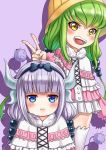 2girls :d :t absurdres bangs beads black_hairband blue_eyes blunt_bangs blush c.c. capelet child code_geass cosplay crossover dragon_horns dragon_tail dress fur_trim green_hair hair_beads hair_ornament hairband hat highres horns kanna_kamui kanna_kamui_(cosplay) kobayashi-san_chi_no_maidragon lavender_hair long_hair looking_at_viewer low_twintails microdress multiple_girls open_mouth purple_background smile tail twintails v very_long_hair white_legwear xiao_gen yellow_eyes younger