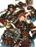 2boys armor axe blue_eyes brown_hair final_fantasy final_fantasy_xiv gloves helmet highres hyur looking_at_viewer makimura_shunsuke multiple_boys roegadyn simple_background standing warrior_(final_fantasy) warrior_of_light weapon yellow_eyes
