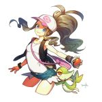 1girl bag baseball_cap black_vest blue_eyes breasts brown_hair denim denim_shorts fumiko_(throughx2) hat high_ponytail holding holding_poke_ball looking_at_viewer poke_ball pokemon pokemon_(creature) pokemon_(game) pokemon_bw shirt shorts shoulder_bag sidelocks signature sleeveless sleeveless_shirt small_breasts smile snivy touko_(pokemon) vest white_background white_shirt wristband