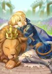1girl artoria_pendragon_(all) blonde_hair blue_ribbon closed_eyes day eyebrows_visible_through_hair fate/stay_night fate_(series) geroro green_eyes hair_ribbon lens_flare lion outdoors ribbon saber short_hair sitting solo