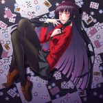 1girl bangs between_breasts black_hair black_legwear blazer blunt_bangs blush breasts card checkered checkered_floor finger_to_mouth from_above full_body glowing glowing_eyes hand_between_breasts highres hime_cut horiguchi_hiroshi jabami_yumeko jacket kakegurui long_hair looking_at_viewer medium_breasts miniskirt nail_polish on_floor pantyhose parted_lips playing_card pleated_skirt poker_chip print_skirt red_eyes red_nails school_uniform skirt smile solo thumb_ring very_long_hair