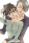 1boy 1girl ;p black_hair blue-framed_eyewear blue_eyes brown_eyes genderswap genderswap_(mtf) glasses hetero hickey highres hug hug_from_behind katsuki_yuuri marine_(1894271) one_eye_closed ponytail saliva saliva_trail silver_hair tongue tongue_out viktor_nikiforov yuri!!!_on_ice