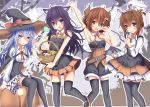 4girls :d akatsuki_(kantai_collection) animal_ears arm_up aruka_(alka_p1) black_hair black_hat black_legwear black_shirt black_shorts blue_eyes blue_hair blush bow breasts brown_eyes brown_hair candy cat_ears choker clock demon_wings embarrassed eyebrows_visible_through_hair fang food hair_between_eyes hairband halloween halloween_costume hat hat_bow hibiki_(kantai_collection) holding horns ikazuchi_(kantai_collection) inazuma_(kantai_collection) kantai_collection layered_skirt long_hair looking_at_viewer miniskirt multiple_girls neck_ribbon open_mouth orange_skirt pleated_skirt rabbit_ears red_bow red_ribbon ribbon shirt short_hair short_hair_with_long_locks short_shorts shorts sidelocks sitting skirt small_breasts smile standing strapless thigh-highs verniy_(kantai_collection) white_hairband white_skirt wings witch_hat zettai_ryouiki