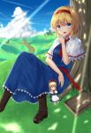 2girls absurdres alice_margatroid blonde_hair blue_eyes blush book boots bow brown_boots clouds day eyebrows_visible_through_hair hair_bow hairband high_heel_boots high_heels highres knee_boots looking_at_viewer multiple_girls open_mouth outdoors phano_(125042) pointing red_bow shanghai_doll short_hair sitting smile touhou tree tree_shade