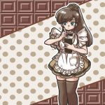 1girl alternate_costume apron black_bow black_bowtie blue_eyes bow bowtie brown_hair brown_legwear enmaided high_ponytail holding holding_notepad holding_pen kuonji_ukyou limited_palette long_hair looking_to_the_side maid notepad polka_dot polka_dot_background ponytail ranma_1/2 scrunchie sidelocks solo spot_color taking_order thigh-highs waitress wantan-orz zettai_ryouiki