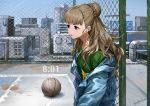 1girl artist_name basketball basketball_court brown_hair day earphones earphones from_side hair_bun idolmaster idolmaster_cinderella_girls infukun kamiya_nao long_hair looking_away outdoors red_eyes signature solo