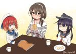 3girls akatsuki_(kantai_collection) alternate_costume alternate_hairstyle ashigara_(kantai_collection) braid brown_eyes commentary_request doyagao drinking eating etorofu_(kantai_collection) hair_over_shoulder hairband hat kantai_collection long_hair misumi_(niku-kyu) multiple_girls redhead sailor_hat school_uniform serafuku short_hair sitting smile smug twin_braids twitter_username violet_eyes white_hat