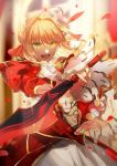 1girl aestus_estus ahoge blonde_hair epaulettes fate/extra fate_(series) green_hair hair_intakes highres no-kan open_mouth saber_extra sword weapon
