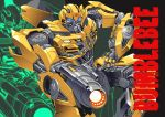 1boy artist_request autobot blue_eyes bumblebee cannon character_name energon glowing glowing_eyes highres insignia looking_at_viewer machine machinery mecha no_humans personification robot transformers weapon
