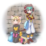 2girls animal_ears bag belt black_hair blonde_hair blush bodysuit boots brick_wall brown_boots brown_eyes cat_ears character_request collarbone commentary_request cosplay crossed_arms dragon_quest dragon_quest_iii eyebrows_visible_through_hair full_body gloves green_eyes hair_between_eyes hood hoodie jewelry kemono_friends kneeling looking_up multiple_girls necklace pants pink_boots pink_gloves pxton sack sand_cat_(kemono_friends) snake_tail standing striped_tail thief_(dq3) thief_(dq3)_(cosplay) triangle_mouth tsuchinoko_(kemono_friends) two_side_up white_background white_pants yellow_gloves yellow_vest