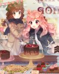 2girls animal_ears blush brown_eyes brown_hair cake cookie cupcake food kawachi_rin long_hair looking_away mimiket multiple_girls open_mouth original parted_lips pink_eyes pink_hair short_hair smile
