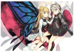 2girls ange_(princess_principal) blonde_hair butterfly_wings cape couple crown gloves grey_hair gun hand_on_another's_cheek hand_on_another's_face highres long_hair multiple_girls princess_(princess_principal) princess_principal short_hair weapon wings yuri
