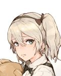1girl absurdres bangs blue_eyes boko_(girls_und_panzer) bow bowtie commentary eyebrows_visible_through_hair girls_und_panzer grey_background grey_eyes grey_hair hair_between_eyes hairband highres hiranko holding holding_stuffed_animal looking_at_viewer one_side_up shimada_arisu silver_hair solo stuffed_animal stuffed_toy tears teddy_bear twintails