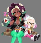 2girls bag blush breasts chicken_nuggets cleavage closed_eyes crop_top crown dark_skin domino_mask dress drink drinking_straw eating fingerless_gloves food food_in_mouth food_on_face french_fries full_body gloves green_hair green_legwear green_nails grey_background hand_on_own_cheek happy hime_(splatoon) iida_(splatoon) long_hair mask mcdonald's midriff mole mole_under_mouth multicolored_hair multiple_girls musical_note nail_polish navel octarian pantyhose partially_unzipped pink_hair pink_legwear purple_hair short_hair simple_background sitting sleeveless smile splatoon splatoon_2 tentacle_hair two-tone_hair white_hair yellow_eyes zipper