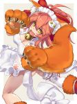 1girl animal_ears apron ass bell bell_collar blush_stickers breasts caster_(fate/extra) cleavage collar fangs fate/extra fate/grand_order fate_(series) fox_ears fox_tail hair_ribbon highres large_breasts long_hair looking_at_viewer maid_headdress naked_apron open_mouth paws pink_hair renka_(renkas) ribbon solo tail tamamo_cat_(fate/grand_order) yellow_eyes