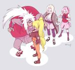1boy 3girls anger_vein blonde_hair blood breasts cleavage facial_mark female forehead_mark genderswap genderswap_(mtf) gloves haruno_sakura jiraiya long_hair male multiple_girls naruko naruto naruto_shippuuden nosebleed pink_hair risuo tsunade twintails twitter_username uzumaki_naruto whisker_markings white_hair