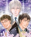 3boys black_hair blue_necktie brown_eyes brown_hair flower glasses grey_eyes hayashida_takahashi looking_at_viewer male_focus multiple_boys necktie sangatsu_no_lion shimada_kai_(sangatsu_no_lion) showsunset souya_touji upper_body white_hair