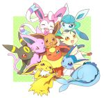 blue_eyes brown_eyes closed_eyes eevee espeon flareon glaceon jolteon leafeon no_humans one_eye_closed open_mouth pink_eyes pokemon pokemon_(creature) red_eyes smile sylveon tail tongue tongue_out triangle_mouth umbreon vaporeon violet_eyes wataametulip