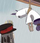2girls angry dark_skin demon_archer fate/grand_order fate_(series) hanging hat koha-ace long_hair low-tied_long_hair medjed multiple_girls nanaya_(daaijianglin) nitocris_(fate/grand_order) nitocris_(swimsuit_assassin)_(fate) peaked_cap purple_hair rain teruterubouzu