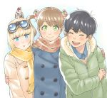 3girls :> :d alien animal animal_on_head bangs bird black_hair blonde_hair blue_coat blue_eyes blunt_bangs blush brown_hair checkered_scarf closed_mouth clothed_animal coat extra_eyes eyebrows_visible_through_hair fur_trim goggles goggles_on_head green_coat green_eyes hair_between_eyes itsumo_tonari_ni_uchuubito java_sparrow katana long_sleeves looking_at_viewer mole mole_under_eye multiple_girls official_art on_head open_mouth parted_lips pink_coat scarf sheath sheathed short_hair smile swept_bangs sword tamaru_tokihiko tomboy twintails upper_body weapon yellow_scarf zipper