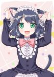 +_+ 1girl :3 :d absurdres animal_ears arms_up bangs beige_background bell black_dress black_hair blush bow cat_ears cat_girl cat_tail circle collar commentary_request curly_hair cyan_(show_by_rock!!) dress ear_grab eyebrows_visible_through_hair frilled_collar frilled_dress frills green_eyes hairband heart highres jingle_bell lolita_hairband long_hair long_sleeves looking_at_viewer open_mouth pink_bow ribbon show_by_rock!! smile solo square tail tareme triangle upper_body white_ribbon xiaosamiao