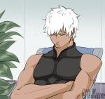 1boy archer chair closed_eyes crossed_arms dark_skin dark_skinned_male fate/grand_order fate_(series) highres male_focus mkd_napper plant short_hair sitting sleeping sleeveless solo upper_body white_hair