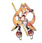 >:d 1girl :d absurdres armor armpits bangs black_legwear blunt_bangs boots breasts character_request detached_collar detached_sleeves double-blade energy_weapon hair_ornament high_ponytail highres holding holding_weapon large_breasts long_hair looking_at_viewer navel official_art one_eye_closed open_mouth orange_hair ponytail sangai_senki short_shorts shorts simple_background smile solo standing thigh-highs thighhighs_under_boots v_over_eye vambraces very_long_hair weapon white_background yangsion yellow_eyes