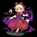 baku_ph black_shirt blonde_hair blue_eyes fairy fairy_wings magic medicine_melancholy minigirl open_mouth outstretched_arms red_skirt ribbon shirt shoes short_hair skirt smile su-san touhou wings