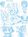 5girls :3 american_beaver_(kemono_friends) eating eromame humboldt_penguin_(kemono_friends) kaban_(kemono_friends) kemono_friends lucky_beast_(kemono_friends) multiple_girls serval_(kemono_friends) shoebill_(kemono_friends) sketch