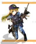 1girl acog assault_rifle baseball_cap blonde_hair boots cyan_eyes digital_camouflage field_radio flashlight gloves gun handgun hat highres holster insignia long_hair m4_carbine military military_hat military_uniform oofuji_reiichirou open_mouth original pistol plate_armor reflex_sight rifle shadow thigh_holster uniform us_navy vertical_foregrip weapon weapon_request