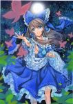 1girl :d acrylic_paint_(medium) alternate_color armpits artist_name blue_eyes blue_skirt blue_vest bow breasts brown_hair butterfly cravat dated detached_sleeves fingernails fireflies frilled_skirt frills full_moon hair_blowing hair_bow hair_tubes hakurei_reimu hand_up head_tilt long_hair looking_at_viewer moon mosho night open_hand open_mouth outdoors ribbon-trimmed_sleeves ribbon_trim sideboob sidelocks skirt smile solo touhou traditional_media tree vest watercolor_(medium) wind