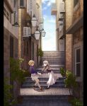2girls :d :o balcony black_eyes black_legwear black_shirt blonde_hair blue_shirt blue_sky brick_wall brown_shoes city clouds cloudy_sky commentary_request day door flower fujino_iro grey_hair grey_jacket grey_skirt hand_holding highres house jacket lamp long_hair long_skirt long_sleeves multiple_girls open_clothes open_jacket open_mouth outdoors parted_lips pillarboxed plant playing pleated_skirt potted_plant road running scenery shirt shoes short_hair signature skirt sky smile socks stairs standing street striped striped_shirt tree twitter_username white_legwear white_skirt window