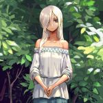 1girl bangs bare_shoulders blouse brown_eyes closed_mouth cowboy_shot hair_over_one_eye long_hair looking_at_viewer off_shoulder oopartz_yang original outdoors own_hands_together silver_hair solo tree white_blouse white_hair