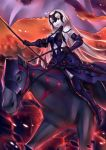 1girl armor armored_boots banner black_boots black_gloves black_legwear boots breasts chains elbow_gloves fate/grand_order fate_(series) floating_hair gloves highres holding holding_weapon horse jeanne_alter long_hair medium_breasts open_mouth pak_ce riding ruler_(fate/apocrypha) sideboob silver_hair smile solo thigh-highs thigh_boots very_long_hair weapon